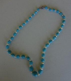 Chinese Turquoise & Pearl Necklace
