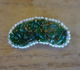 Chinese Carved Jade & Seed Pearl Brooch, 14k Gold