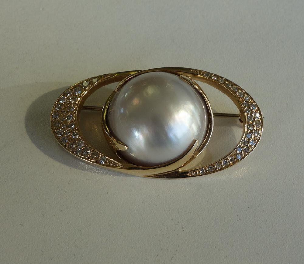 Mabe Pearl & Diamond 14K Gold Brooch