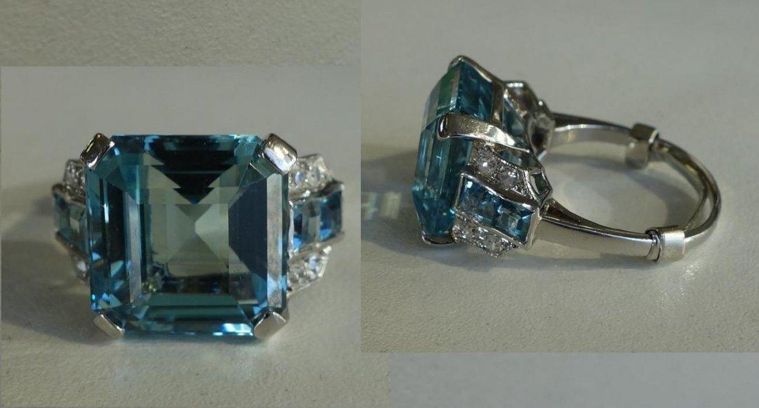 Aquamarine & Diamond Platinum Ring