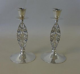 Tiffany & Co. Sterling Openwork Candlesticks