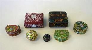 7 Chinese Cloisonne Enamel Boxes