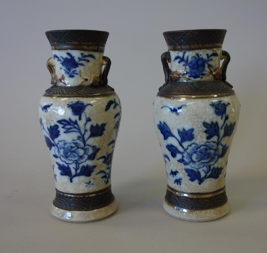 19thc Chinese Crackle Glaze Vases, Pair