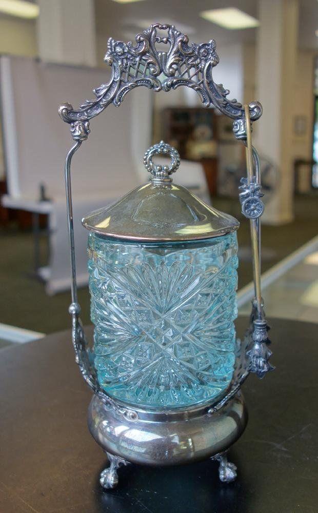 Victorian Pickle Castor, Blue Glass Insert
