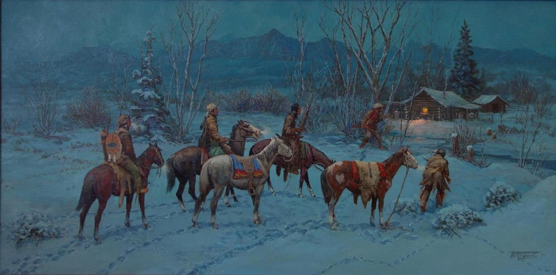 Fred Oldfield (b-1918) Red Clouds Winter Warrior
