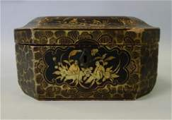 19th Chinese Lacquer & Pewter Tea Caddy