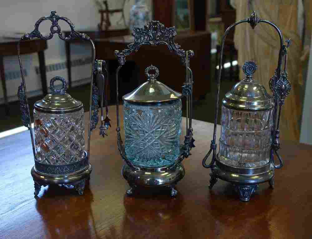 3 Victorian Pickle Castors, Blue & Clear Glass