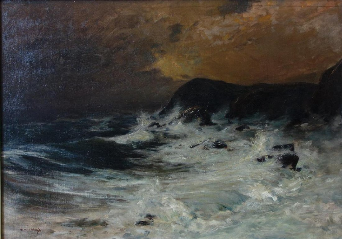 Leon Launay, The Raging Sea, Oil on Canvas