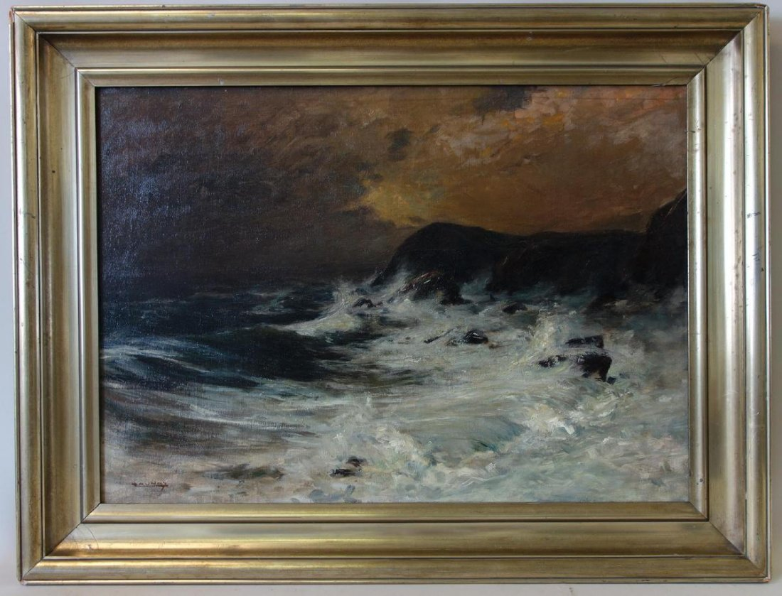 Leon Launay, The Raging Sea, Oil on Canvas - 2