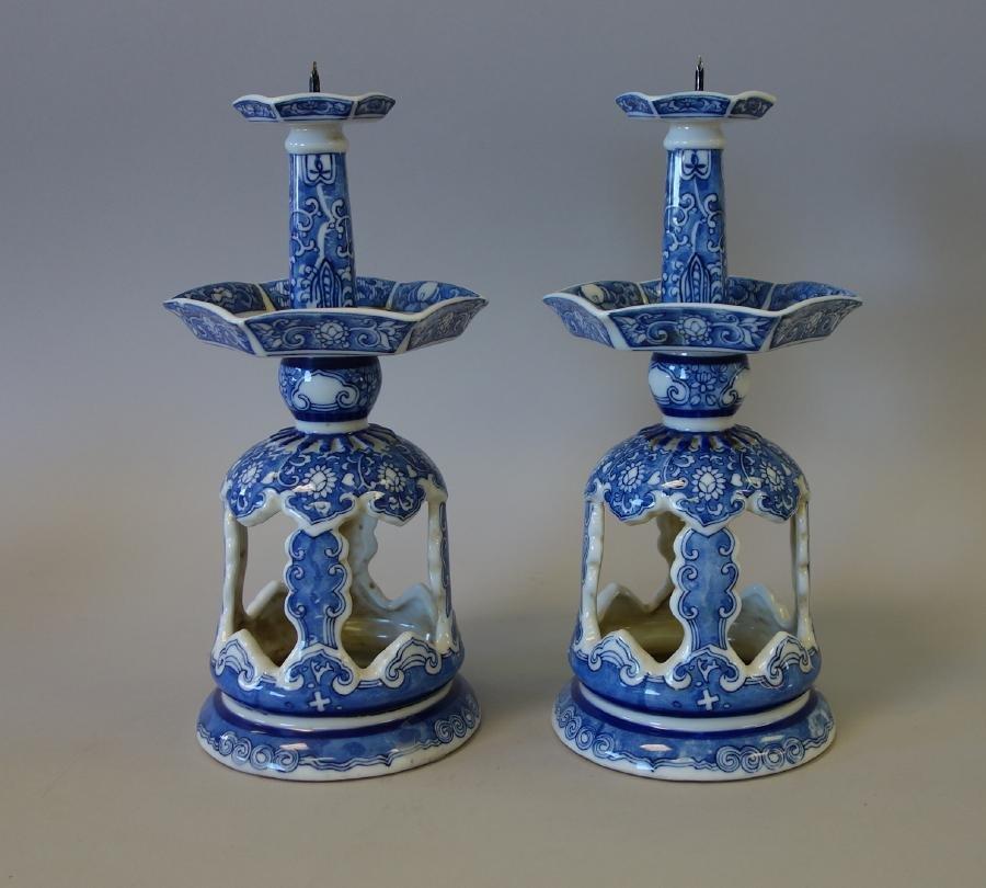 Chinese Blue & White Porcelain Candlesticks