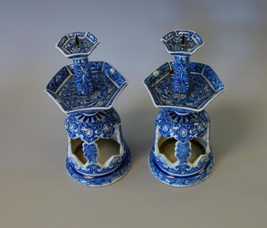 Chinese Blue & White Porcelain Candlesticks - 2