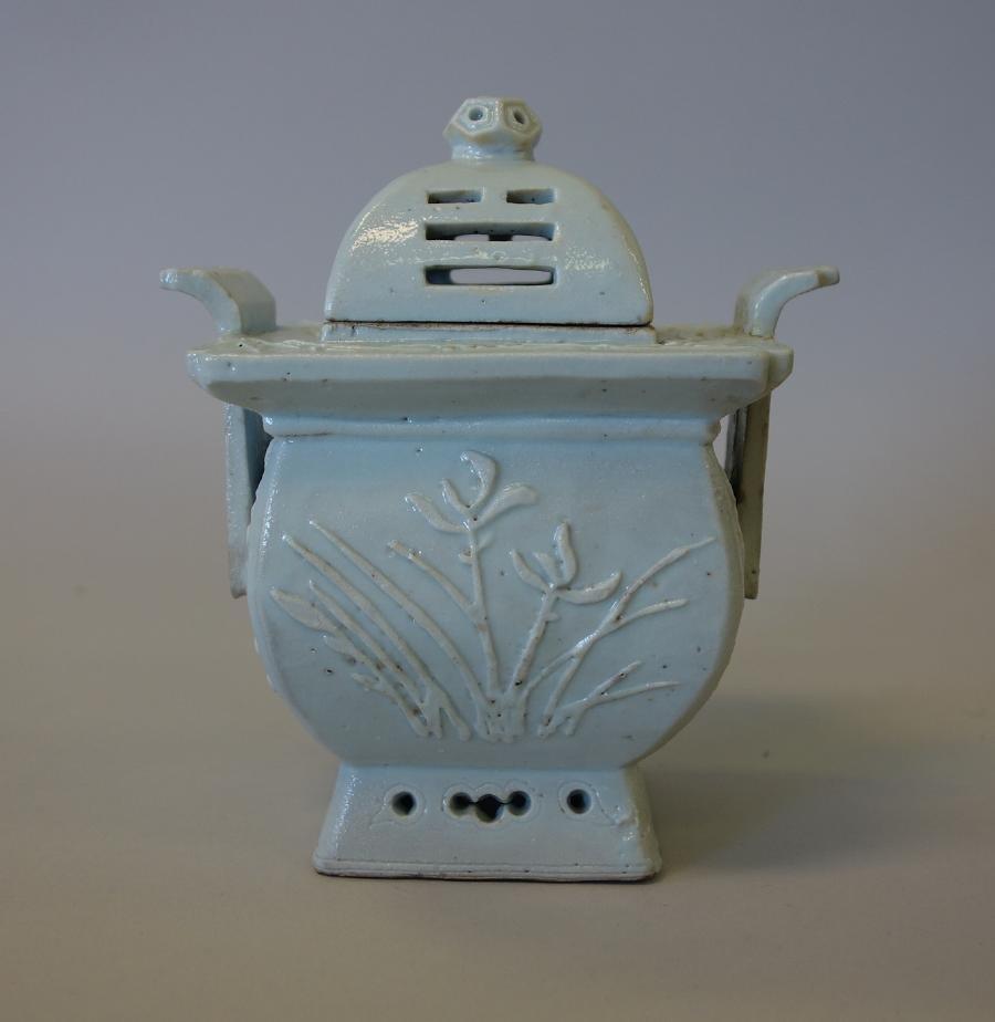 Korean Celadon Porcelain Censer, Raised flowers