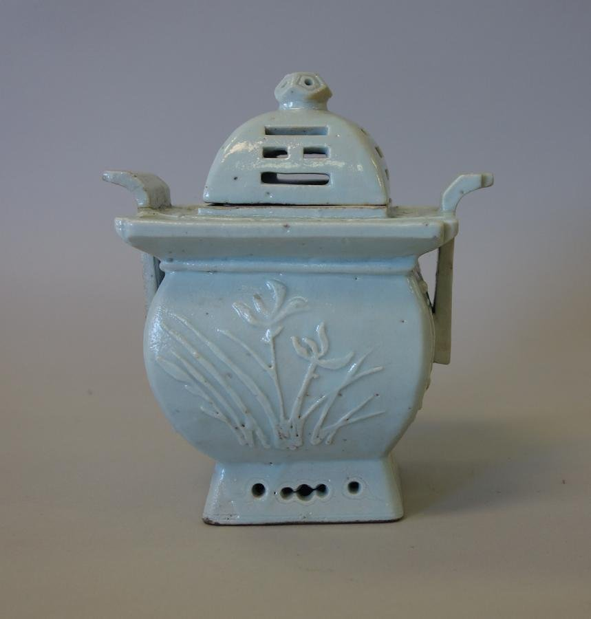 Korean Celadon Porcelain Censer, Raised flowers - 2