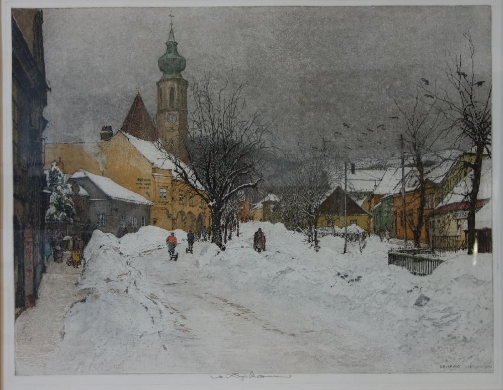 Luigi Kasimir (1881-1962) Grinzing in Winter