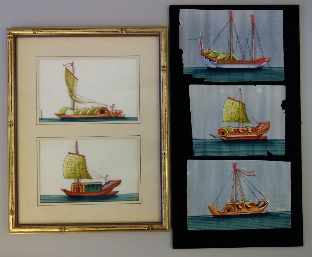 5 Chinese Pith Paper Paintings of Boats