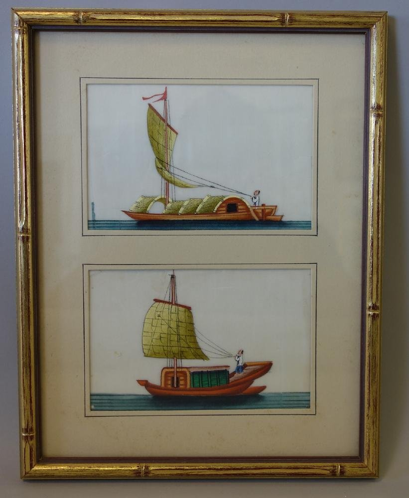 5 Chinese Pith Paper Paintings of Boats - 2