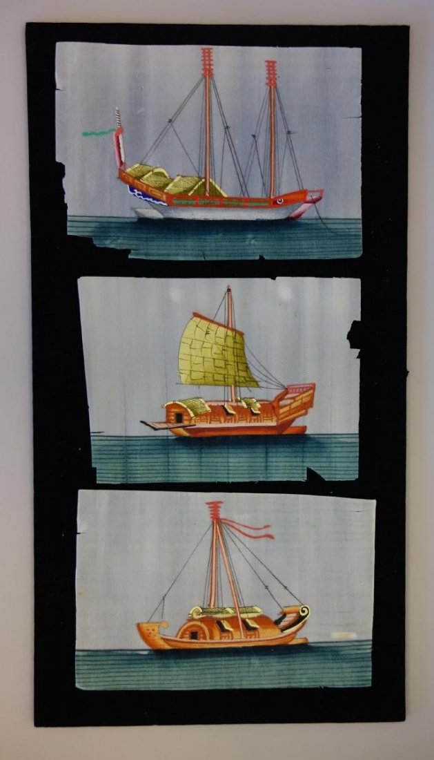 5 Chinese Pith Paper Paintings of Boats - 3