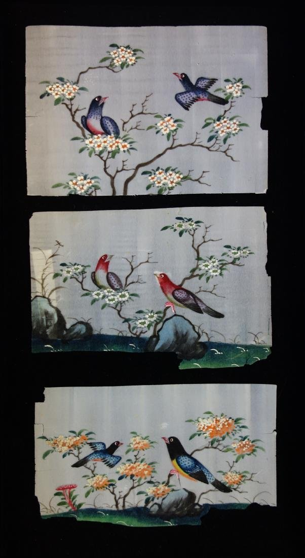 3 Chinese Pith Paper Paintings of Birds