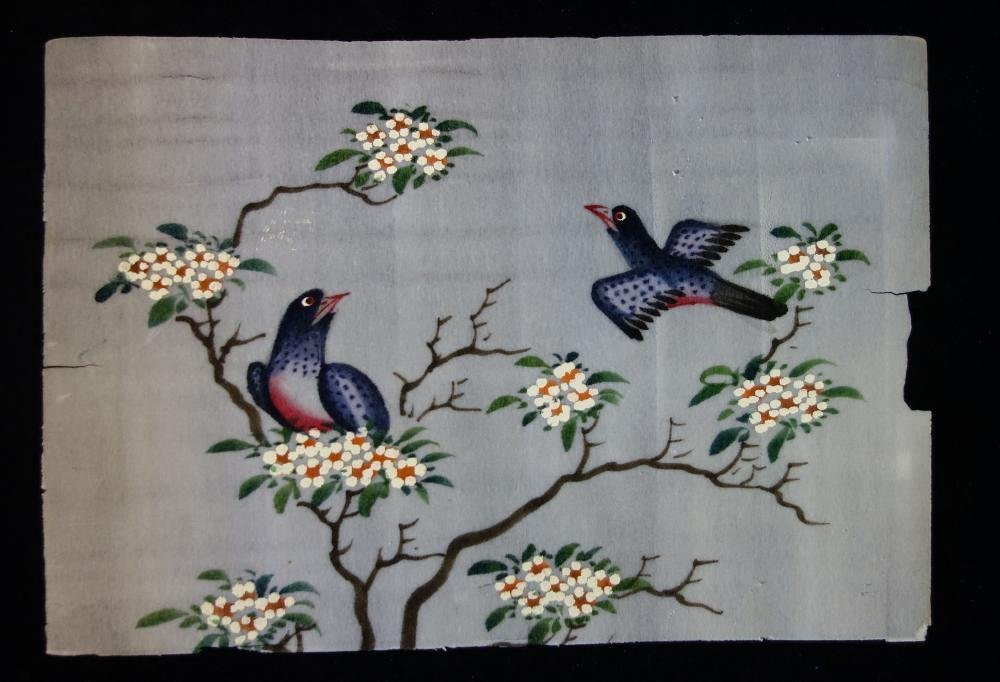 3 Chinese Pith Paper Paintings of Birds - 2