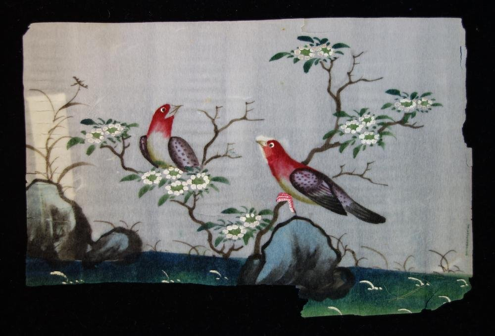3 Chinese Pith Paper Paintings of Birds - 3
