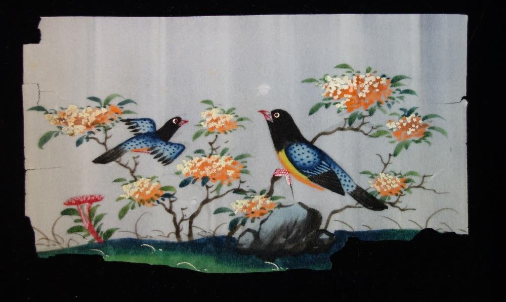 3 Chinese Pith Paper Paintings of Birds - 4