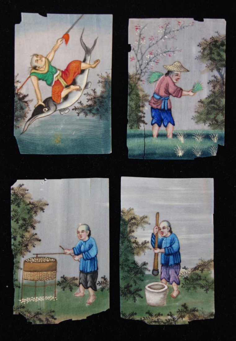 4 Chinese Pith Paintings, Landscape & Figures