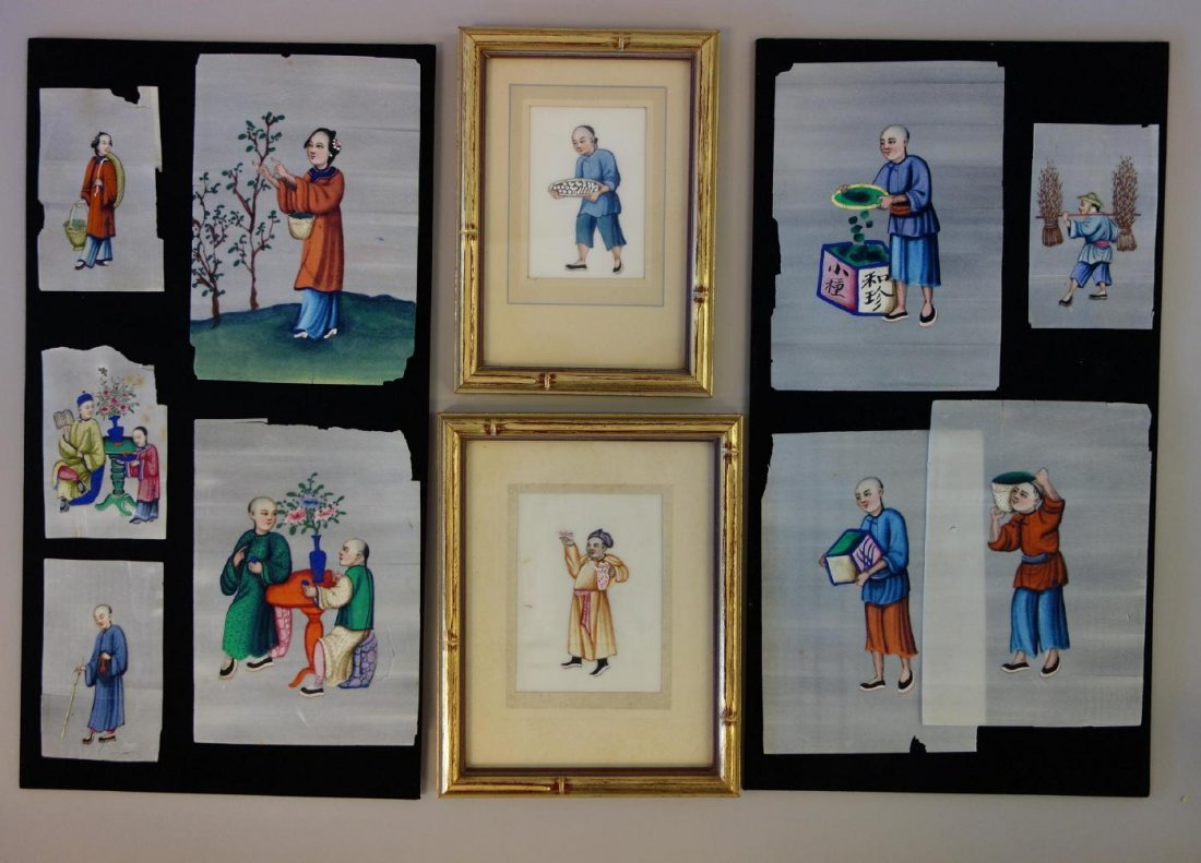 11 Chinese Pith Paper Paintings, Mandarin Figures