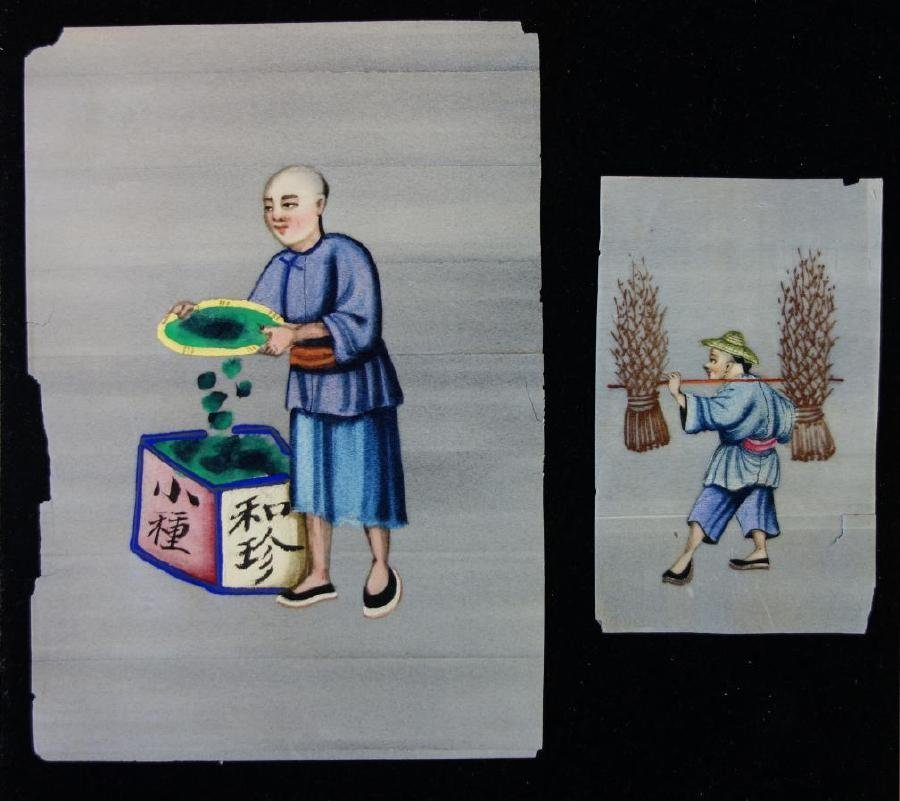 11 Chinese Pith Paper Paintings, Mandarin Figures - 5
