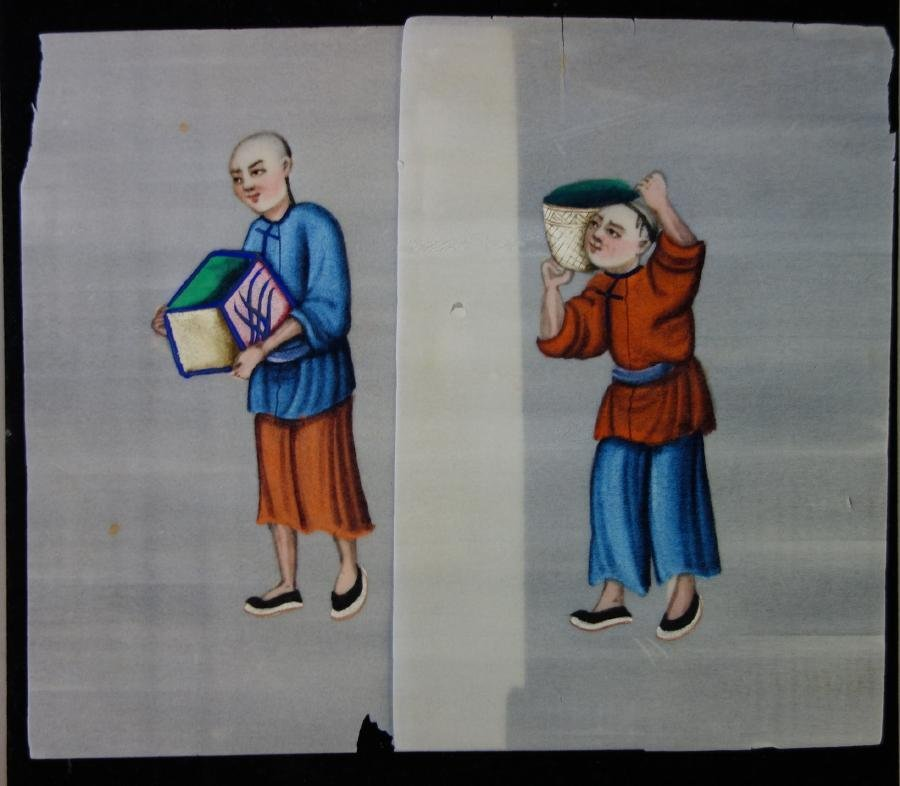 11 Chinese Pith Paper Paintings, Mandarin Figures - 6