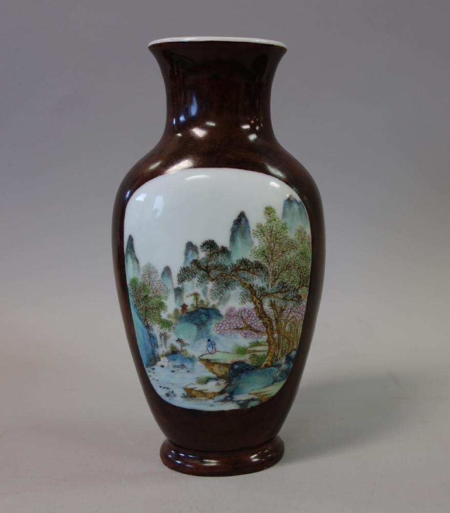 Chinese Porcelain Vase, Famille Verte Enamels