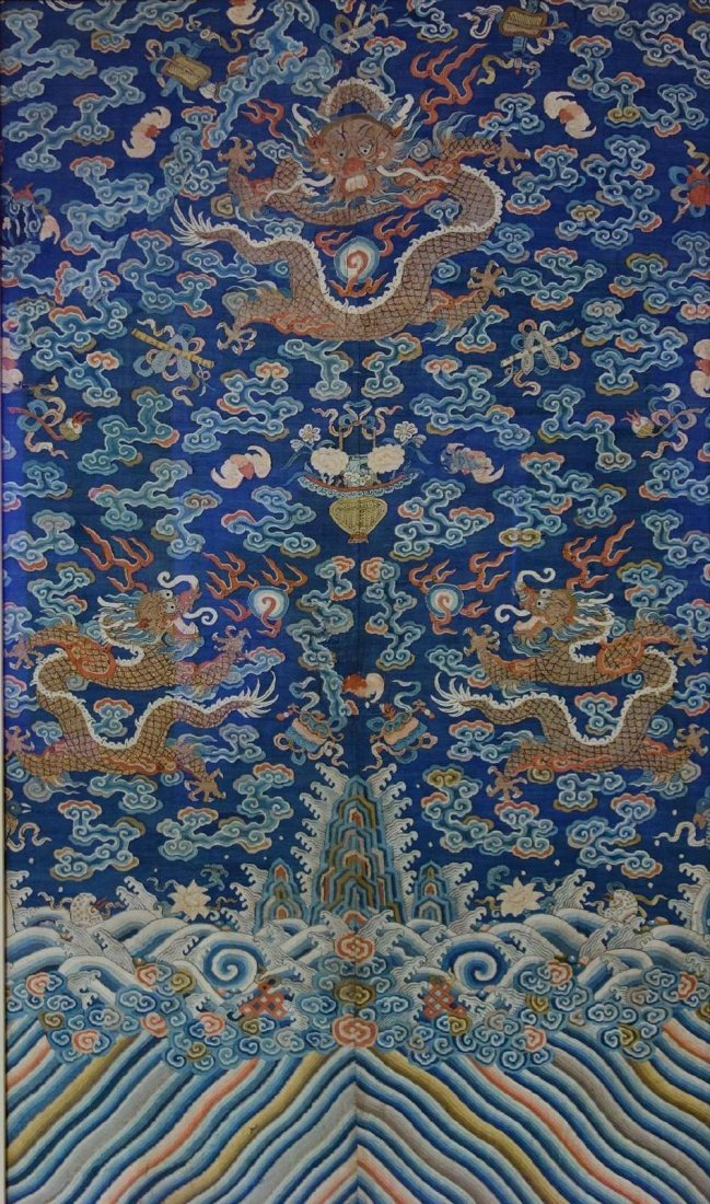 Chinese Blue Silk Embroidered Dragon Robe (Partial) - 2
