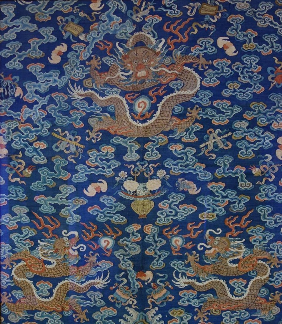 Chinese Blue Silk Embroidered Dragon Robe (Partial) - 3