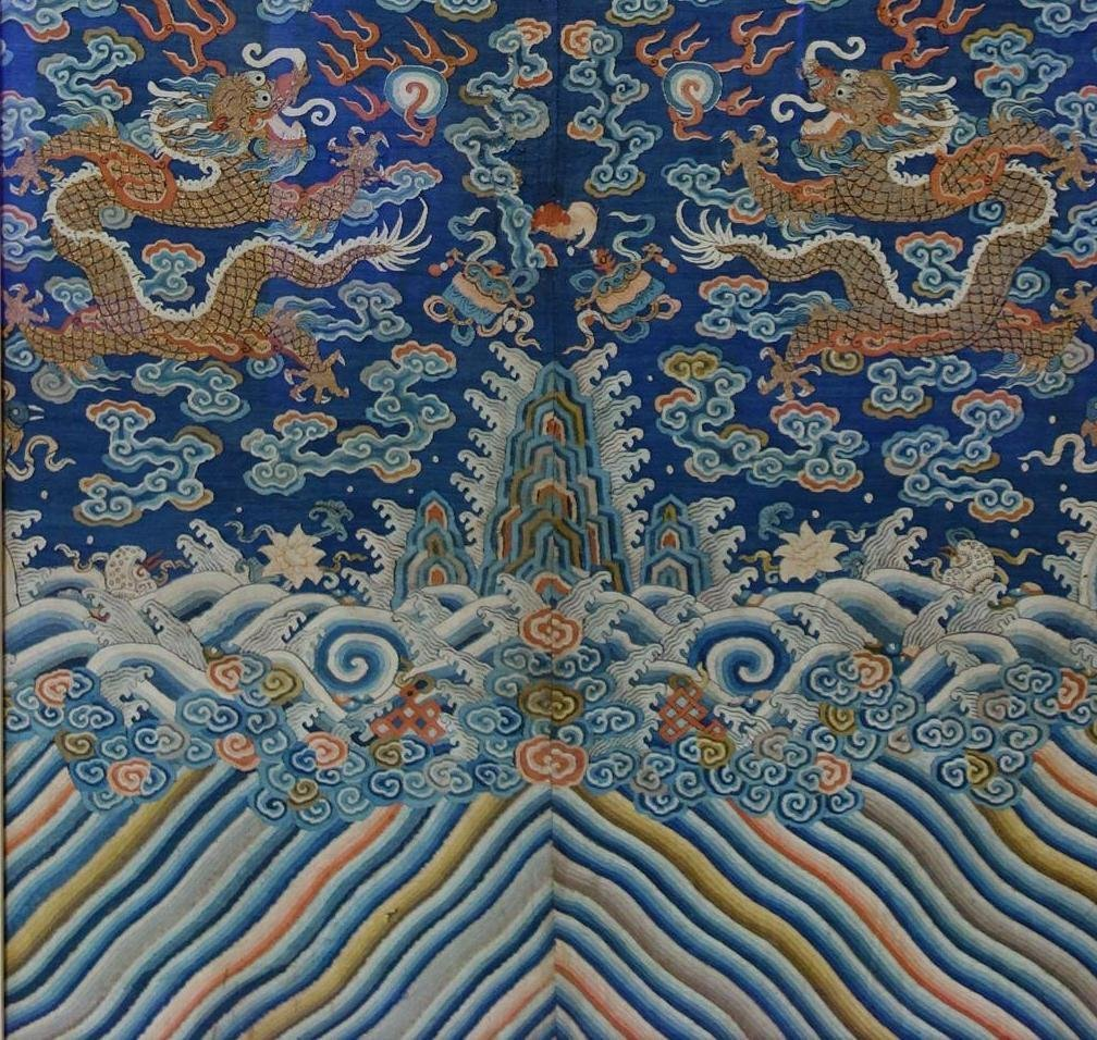 Chinese Blue Silk Embroidered Dragon Robe (Partial) - 4