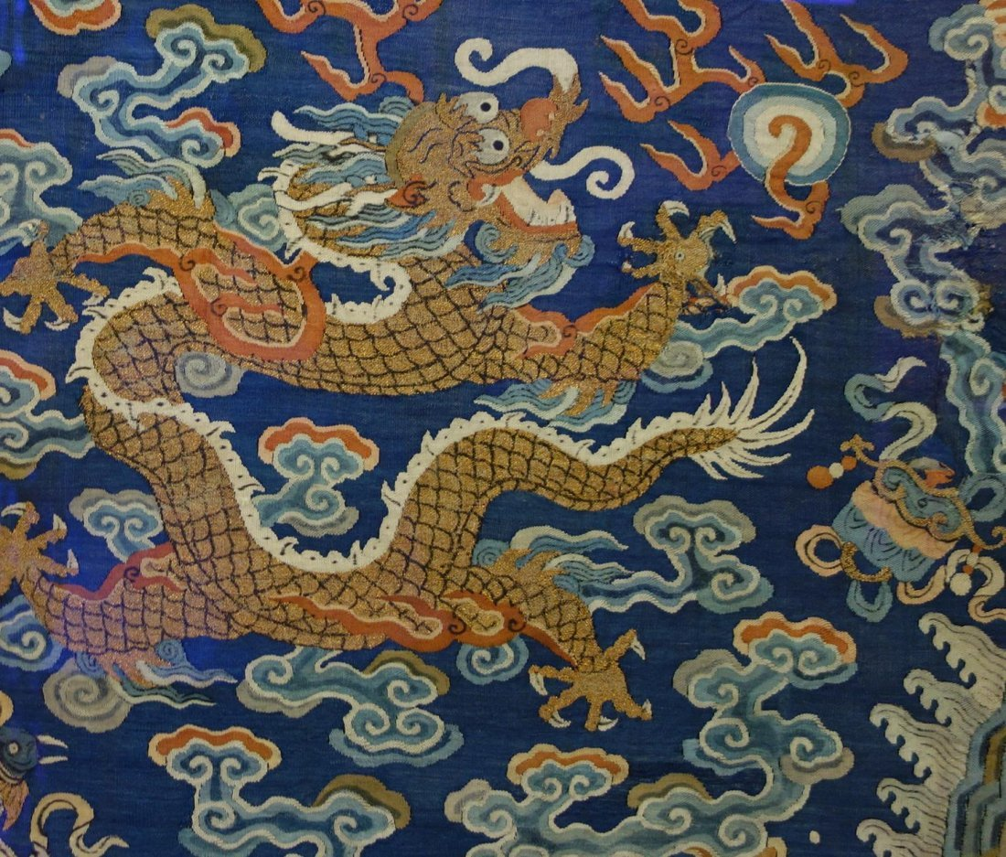 Chinese Blue Silk Embroidered Dragon Robe (Partial) - 6