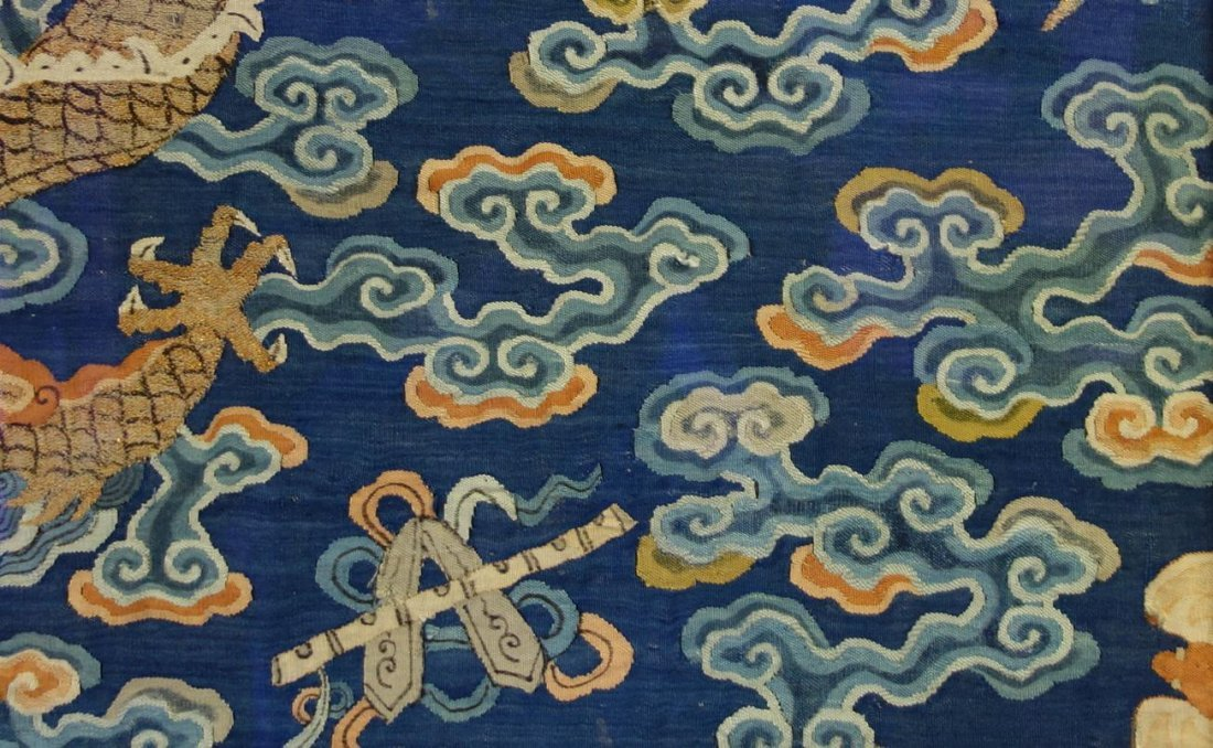 Chinese Blue Silk Embroidered Dragon Robe (Partial) - 8