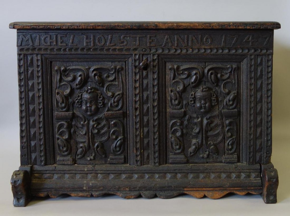 18thc Carved Child's Chest Michel Holste Anno 1747