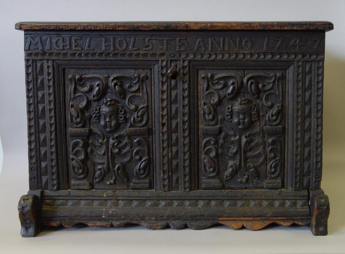 18thc Carved Child's Chest Michel Holste Anno 1747 - 5