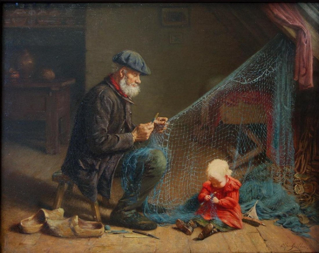 Alfred Guillou (1844-1926) The Fishing Nets