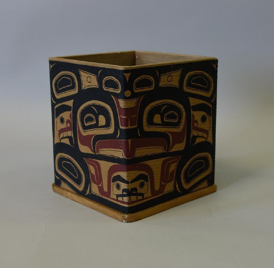 Northwest Coast Polychrome Bentwood Cedar Box - 3