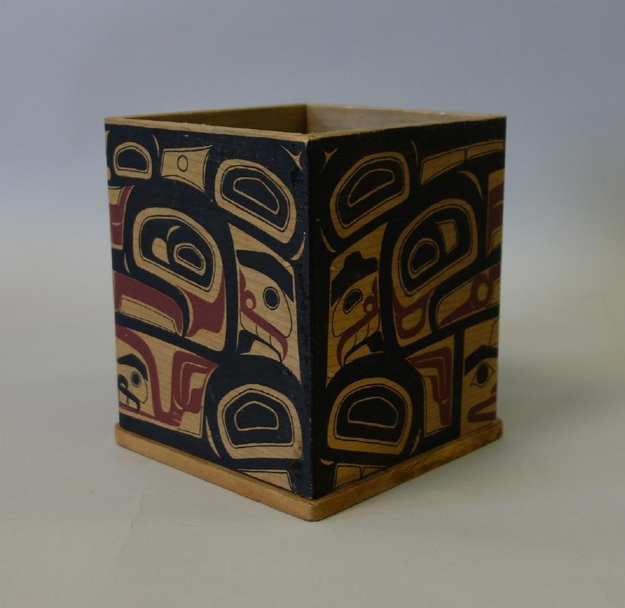 Northwest Coast Polychrome Bentwood Cedar Box - 4
