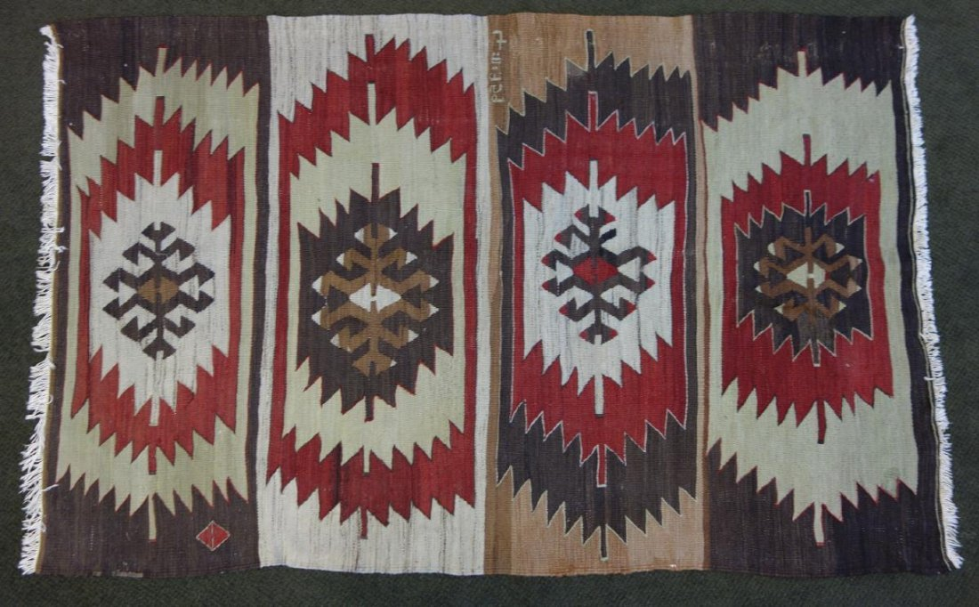 Wool Textile Rug, Native American Motif