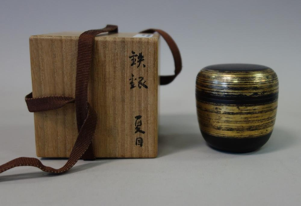 Sekiya Shiro Iron & Gold Natsume Tea Canister