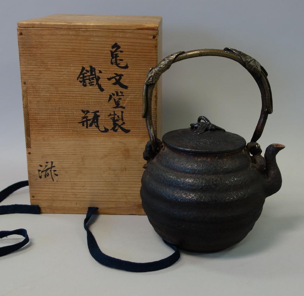 Kibundo Shohei, Iron & Bronze Teapot, Dragonfly