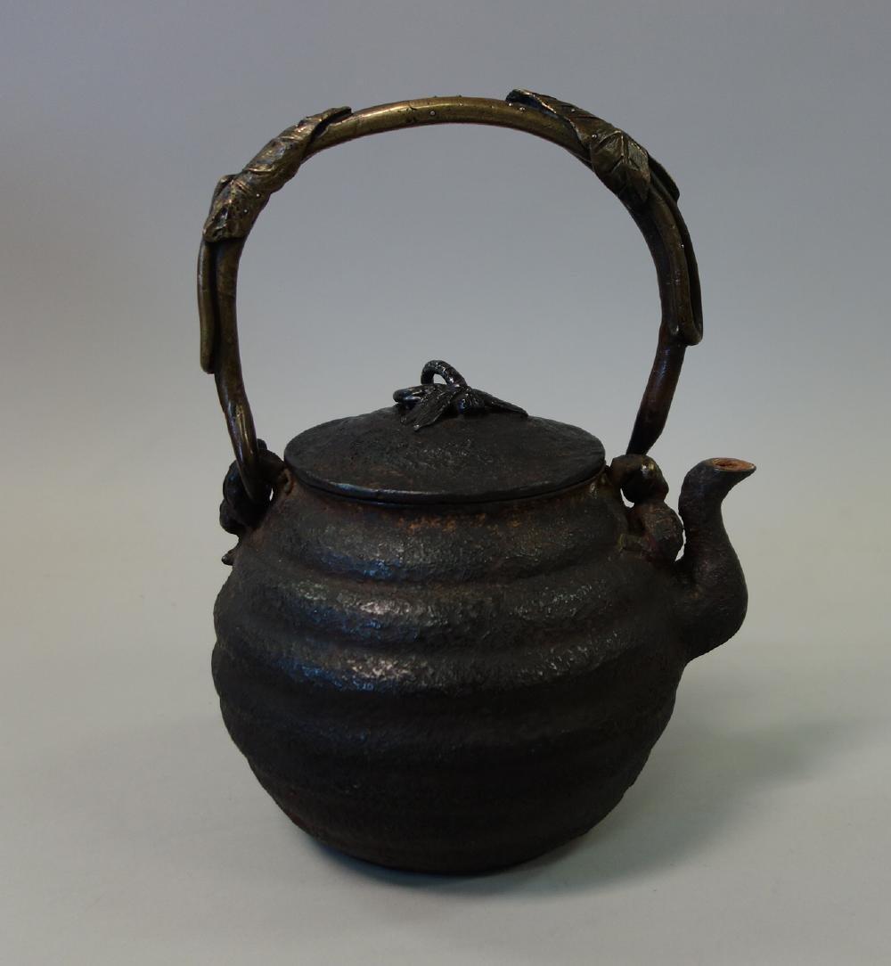 Kibundo Shohei, Iron & Bronze Teapot, Dragonfly - 2