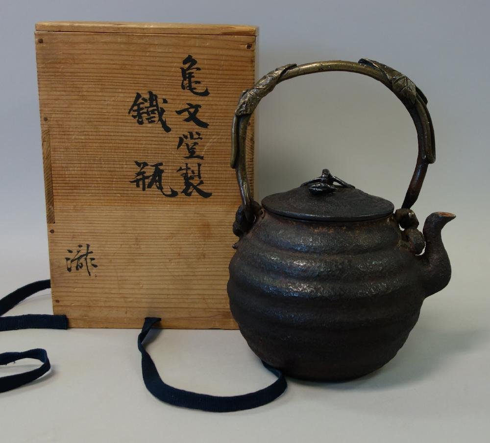 Kibundo Shohei, Iron & Bronze Teapot, Dragonfly - 6