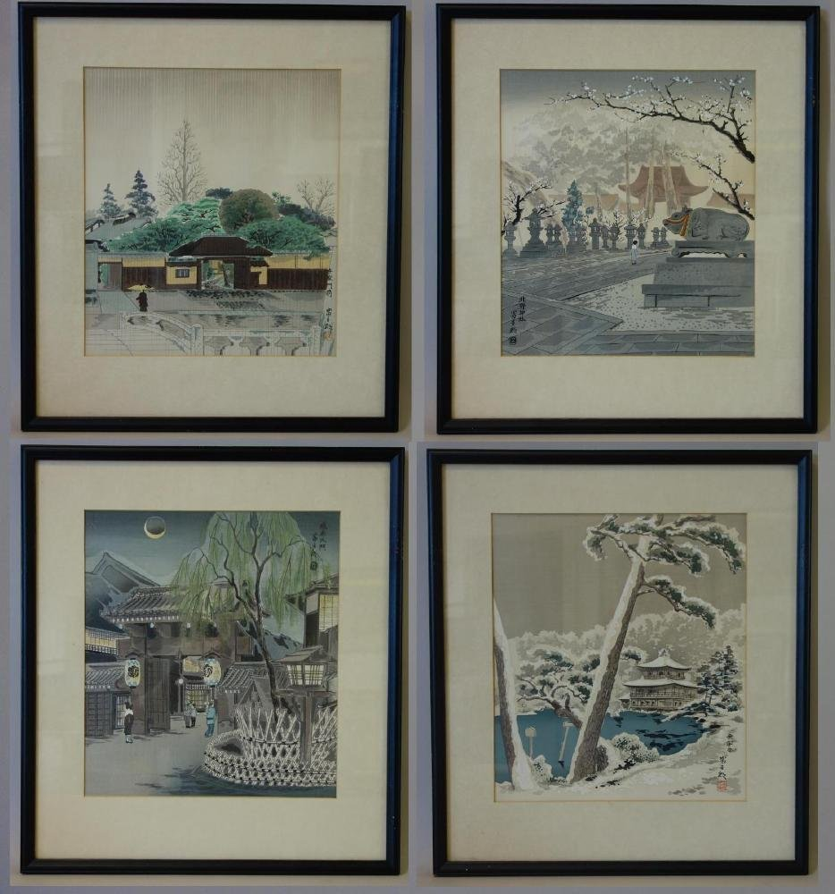 Tomikichiro Tokuriki Woodblocks, Set of 4  / Kyoto