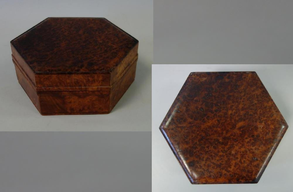 Hexagonal Burl Wood Box