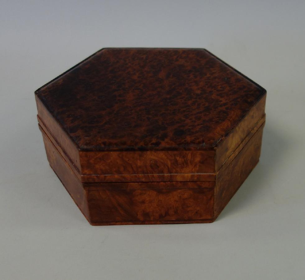 Hexagonal Burl Wood Box - 2