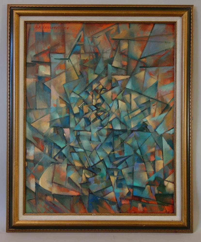 Aleksandr Kargopoltsev, Russian Cubism Oil - 2