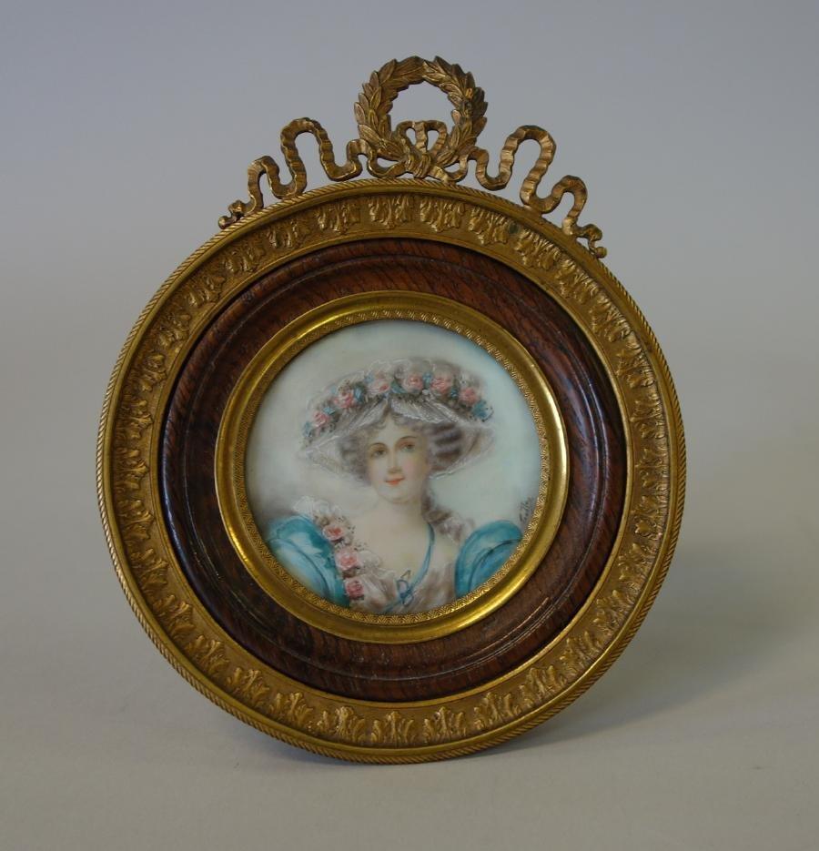 19thc Continental Framed Portrait Miniature, Sgnd